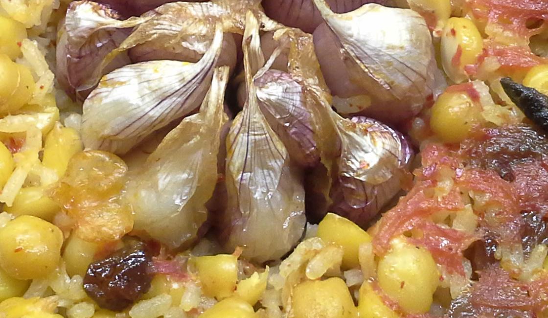 Riz, pois chiches et raisins secs