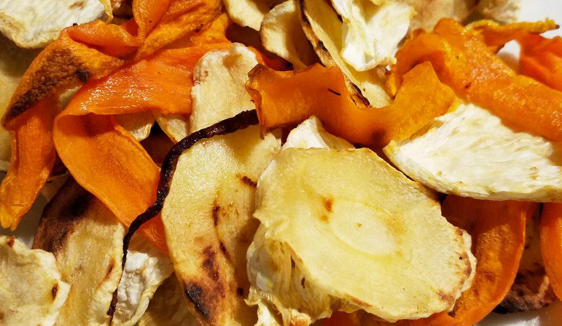 Chips de légumes à la plancha